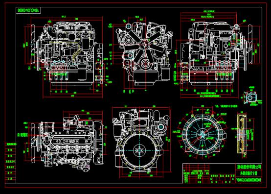发动机外形机械设计CAD图纸