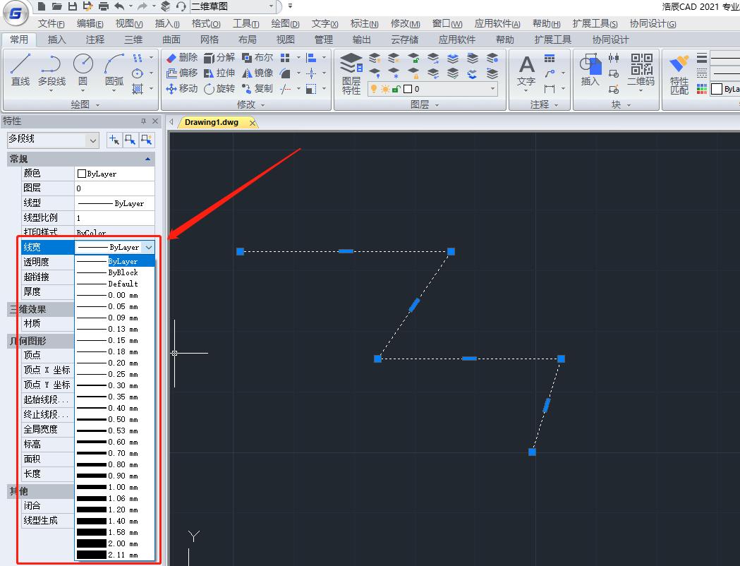 怎么设置CAD多段线线宽?CAD多段线线宽设置技巧