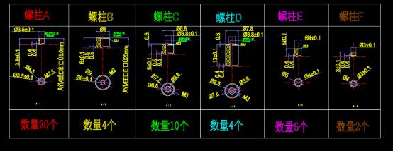 背板螺柱和攻丝孔CAD图纸