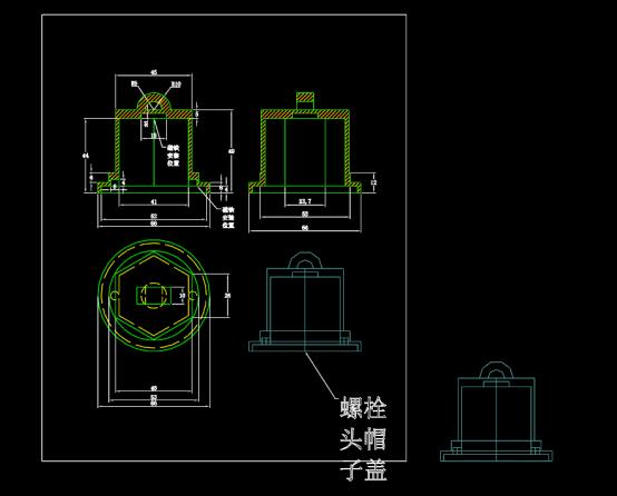 螺栓盖帽尺寸图形设计CAD图纸