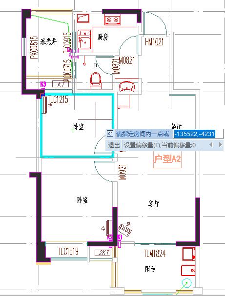 CAD软件中如何快速进行房间轮廓及面积的测量绘制?