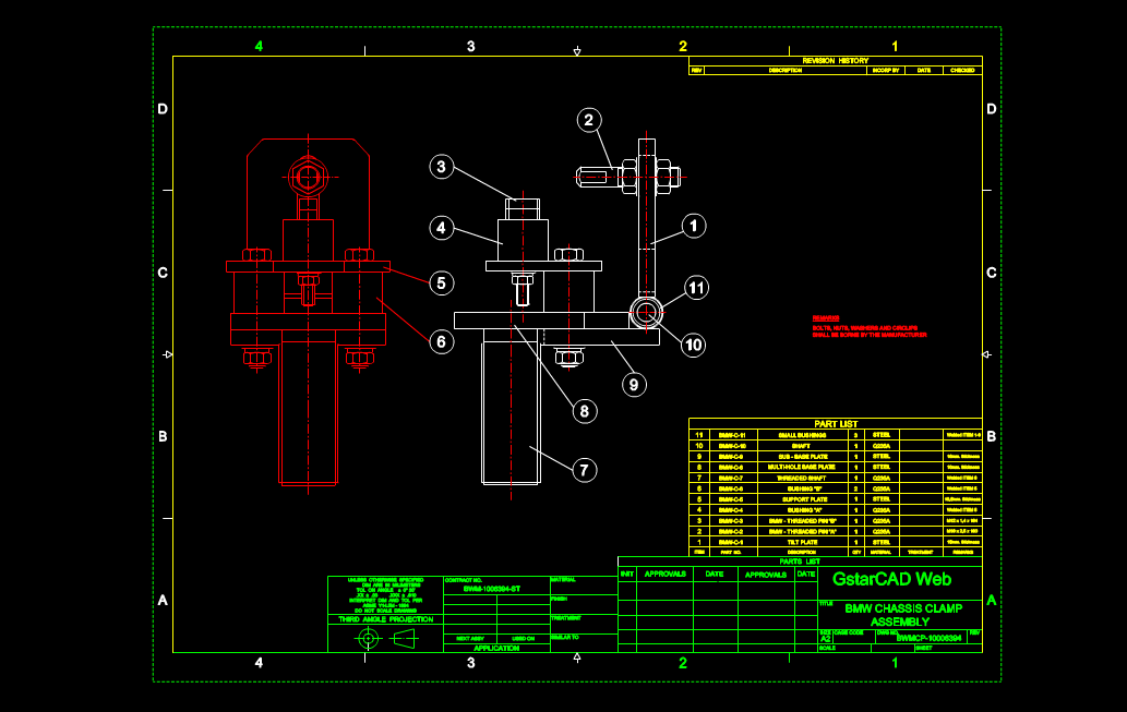 【CAD机械图纸】汽车底盘夹钳零配件