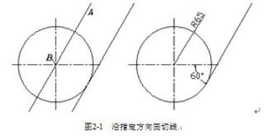 CAD画圆弧切线沿着指定方向的方法