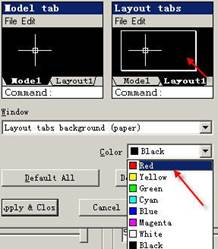CAD中如何修改布局空间背景颜色