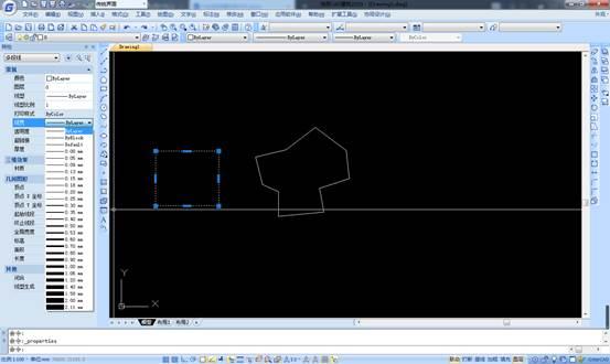 CAD特性选项板如何修改图形线宽