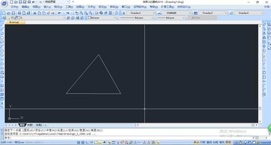CAD中测量线段长的过程