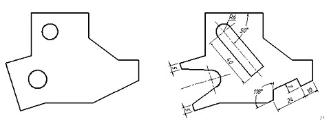 CAD绘制垂线和固定角度斜线