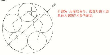 CAD中怎么画五个互相外切的外切圆?