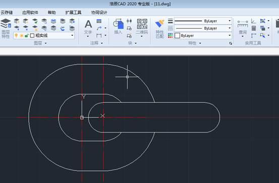 CAD拉伸命令使用例如绘制教链环操作过程