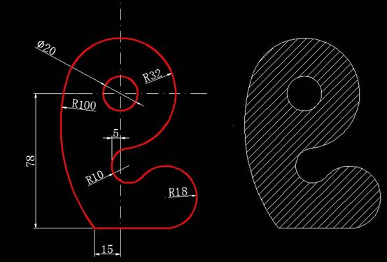 CAD计算面积之画图求阴影部分面积