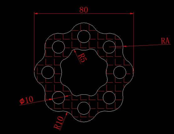 CAD计算面积之绘图并求出半径和阴影部分面积