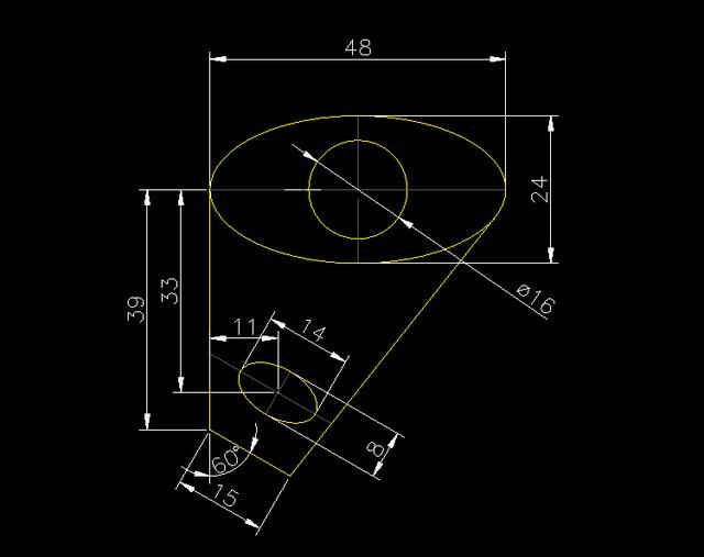 CAD旋转图形-水平图形与斜线平行