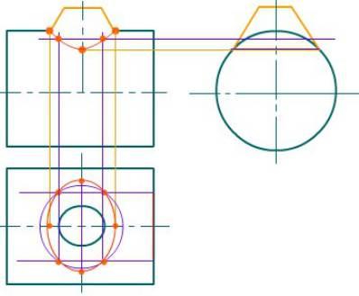 CAD机械制图中圆柱与圆锥相贯的情况
