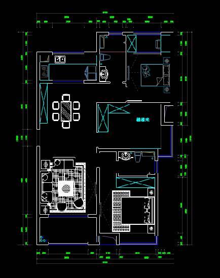 CAD室内设计图库大全之三室两厅两卫户型图