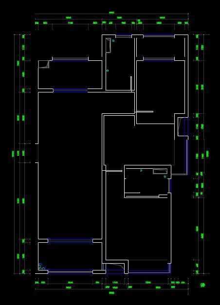 CAD室内设计图库大全之两室两厅两卫户型图