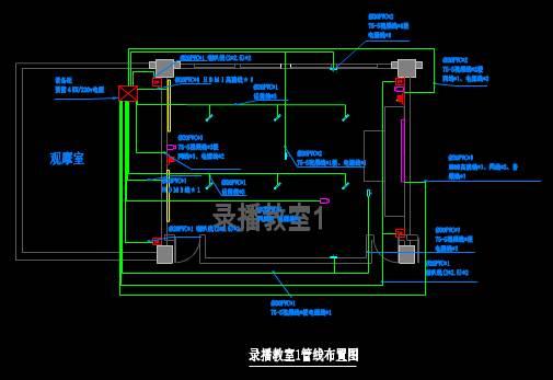 CAD室内设计图库大全之录播室布置