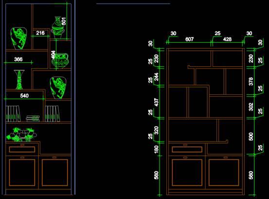 某样式的酒柜设计CAD图纸