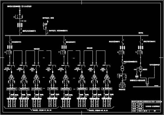某光伏电站CAD机械实例某段线路一次系统接线图
