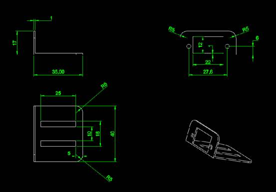 CAD机械制图之舵机支架