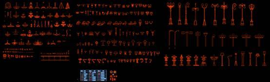 建筑装饰CAD图之常用灯具图