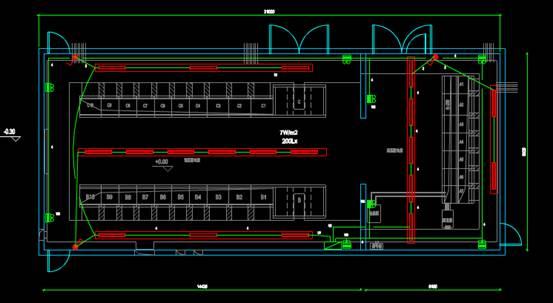汽车配件工厂内饰变电所CAD绘制户型图