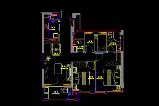 财富中心平面设计CAD施工图