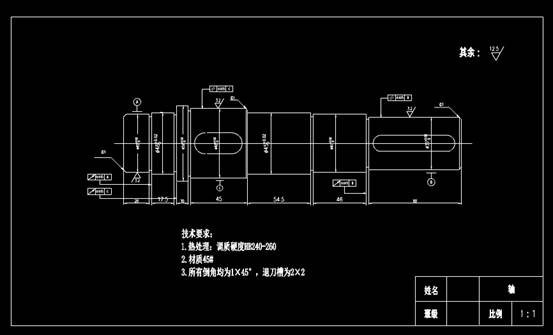 CAD机械设备图纸之一级圆柱直齿轮低速轴