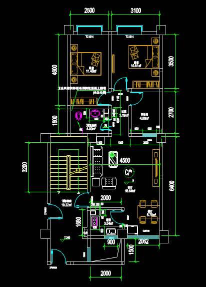 CAD施工图之家装户型图施工CAD图纸