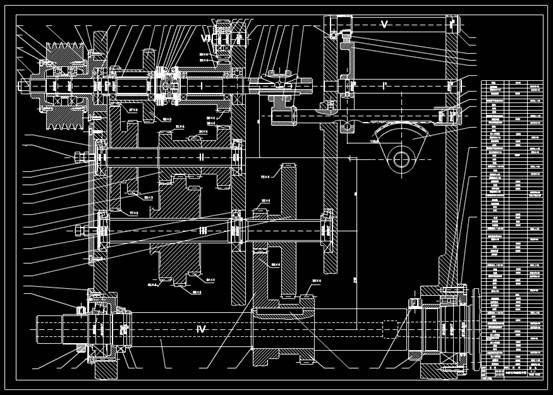 CAD机械设备图纸之车床主轴箱展开图