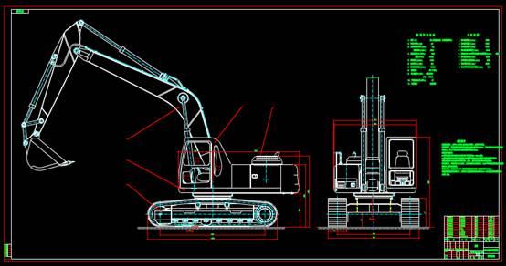 CAD机械设备图纸之挖掘机总图