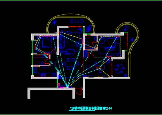 某楼样板房CAD电气工程制图插座和照明布置图