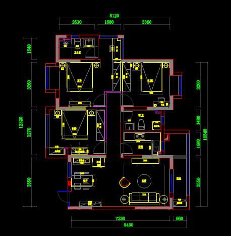 三房一厨两卫生间具体CAD电气工程制图