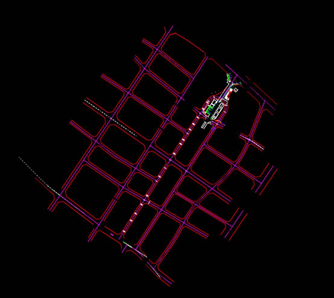 CAD建筑设计中古古建街道带状图CAD图纸