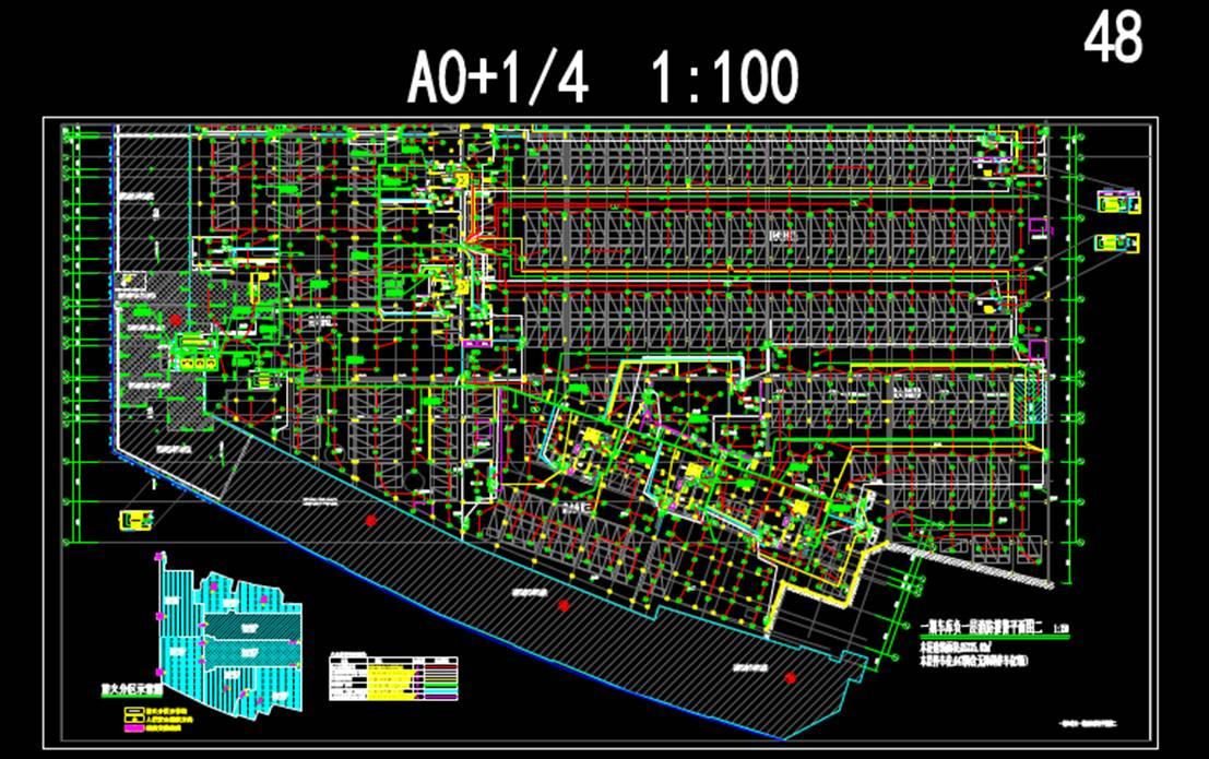 CAD电气工程制图-车库消防报警平面图