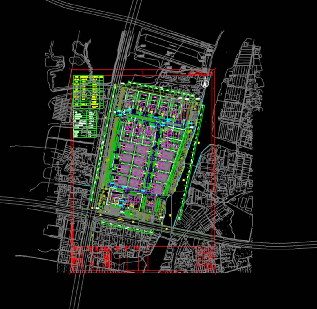 城市规划设计图CAD-汽车城总图