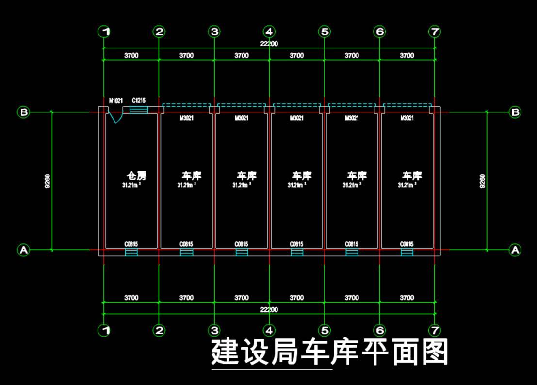 建筑设计办公建筑车库办公底层平面CAD图