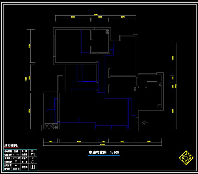 CAD室内建筑图纸-水电图