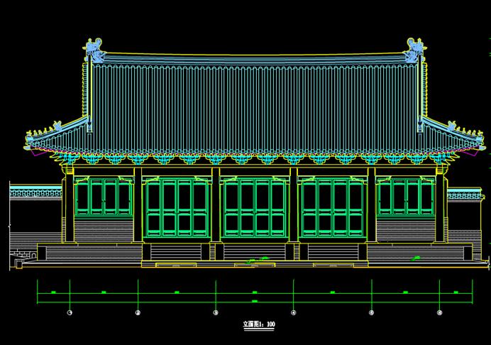 古建筑的CAD立面图
