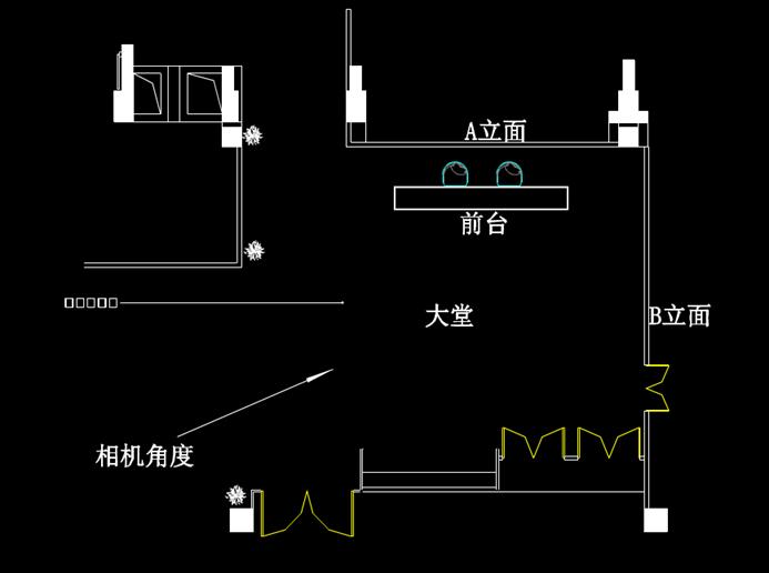 大堂的CAD室内建筑图纸.