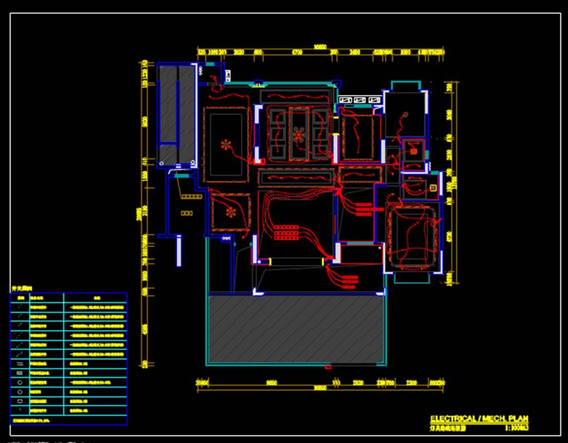 室内装修户型图室内设计CAD户型图之灯具路线链接图