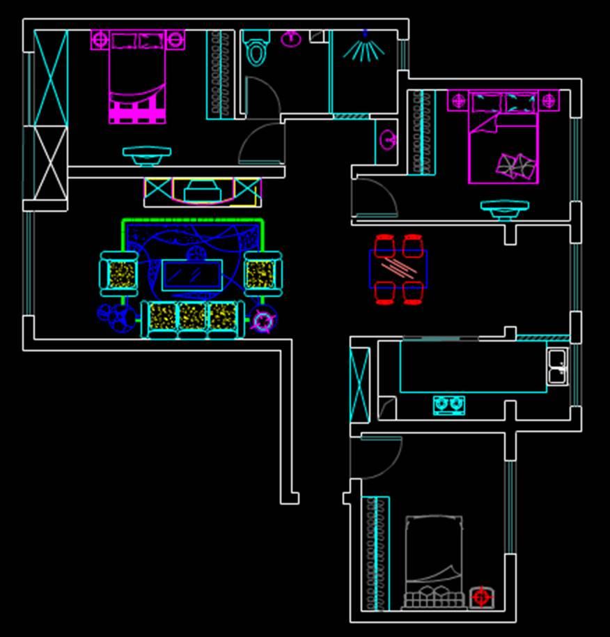 室内装修户型图室内设计CAD户型图
