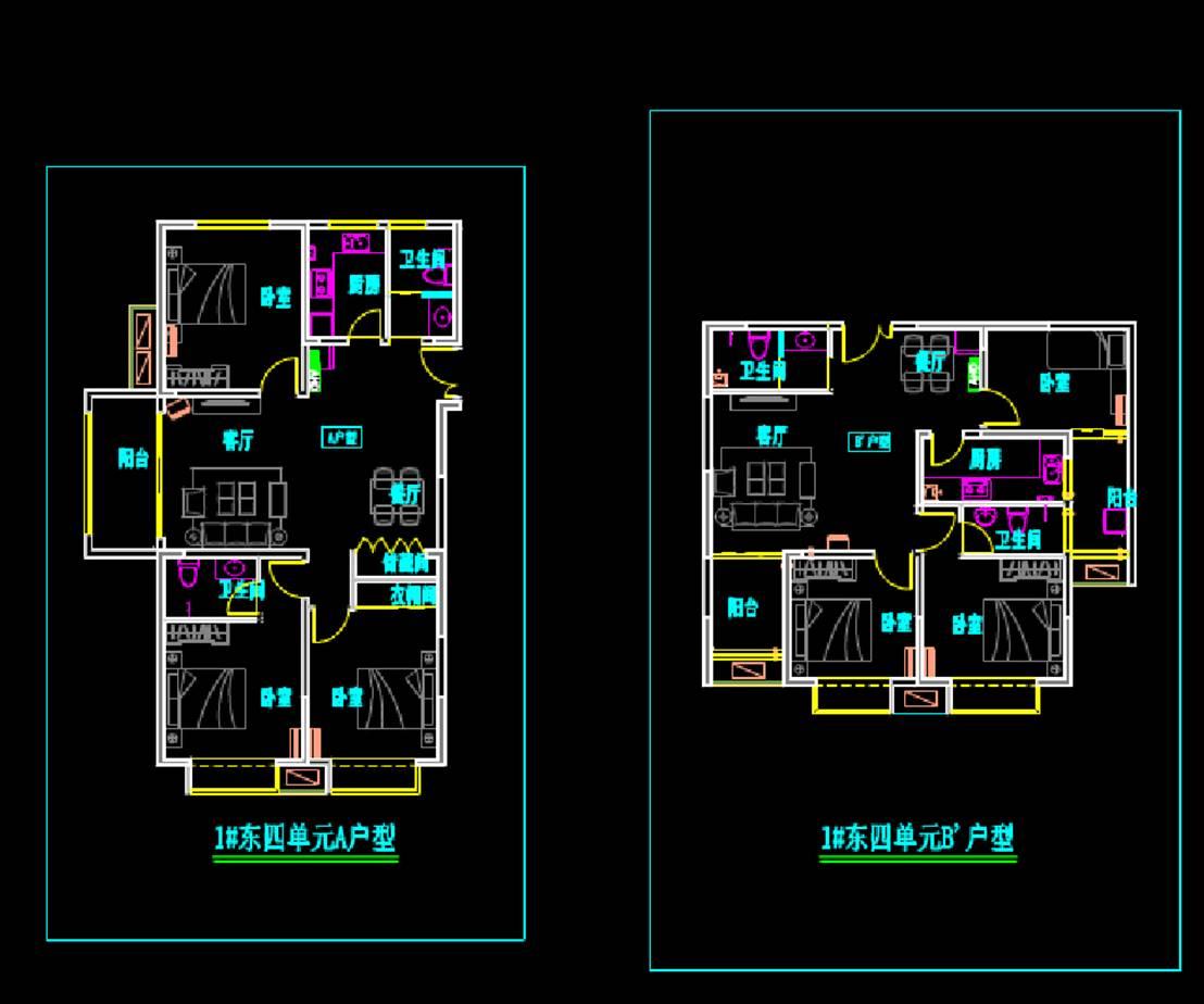 弘泰户型两个楼建筑设计CAD图纸
