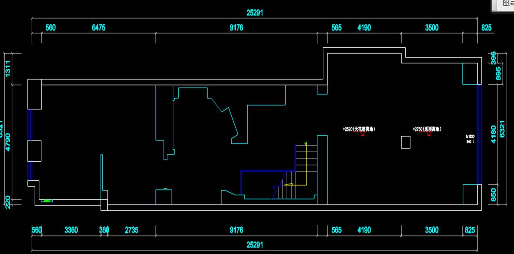 某原始建筑室内设计CAD绘图平面图