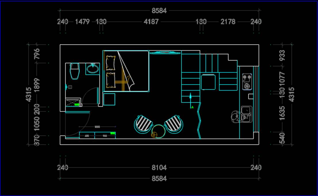 二层别墅装修室内设计CAD绘图