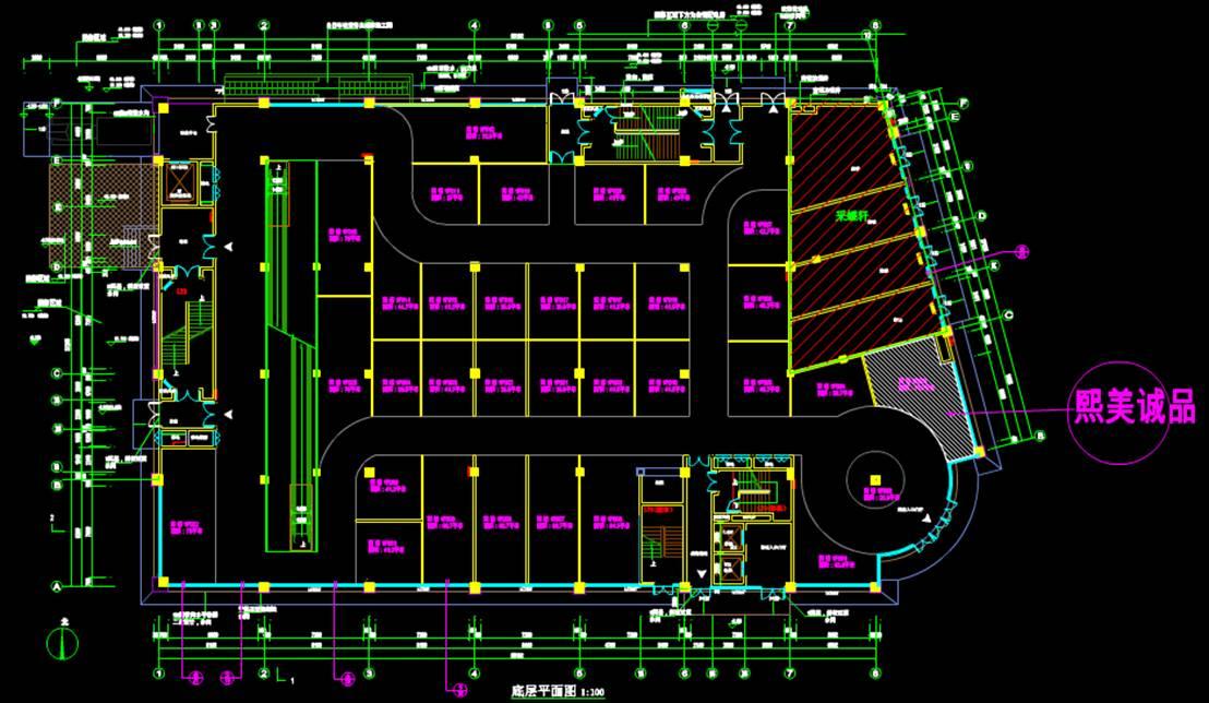某大型商业楼CAD图纸一层平面图
