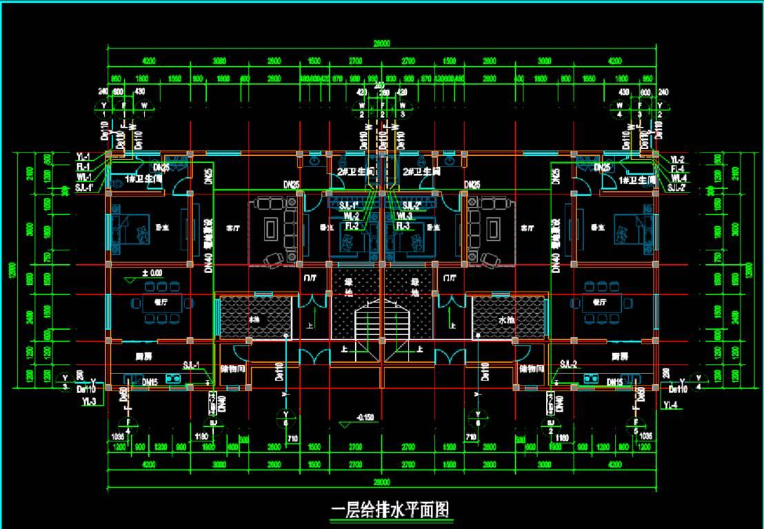 某两层楼房CAD给排水系统图