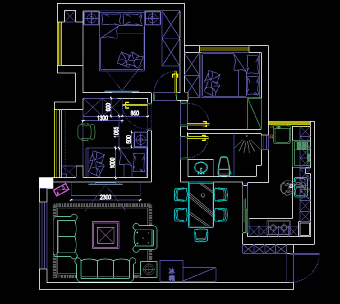 成都某建筑户型室内设计CAD户型图