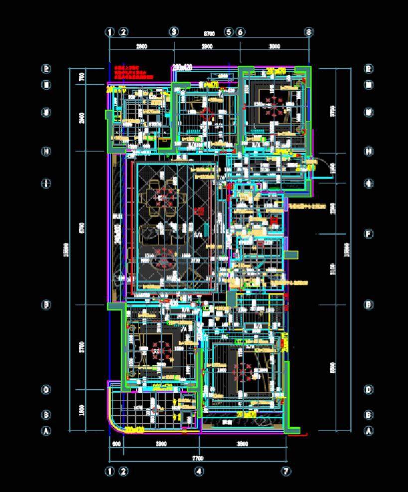 E户型室内设计CAD绘图