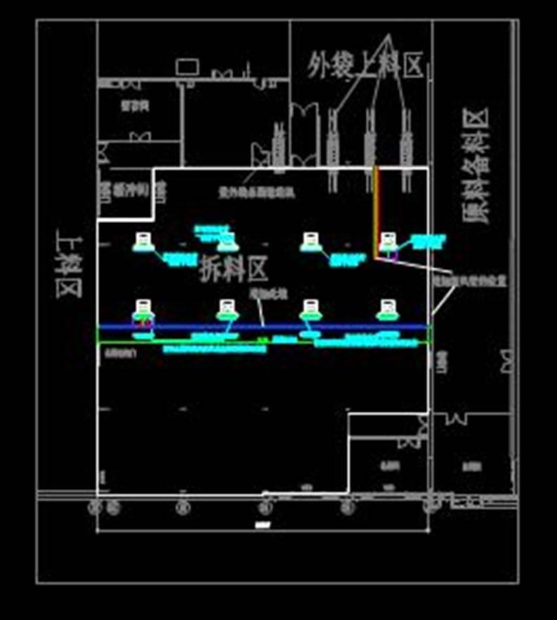 雅士利奶粉车间拆料区的工程建筑CAD图纸