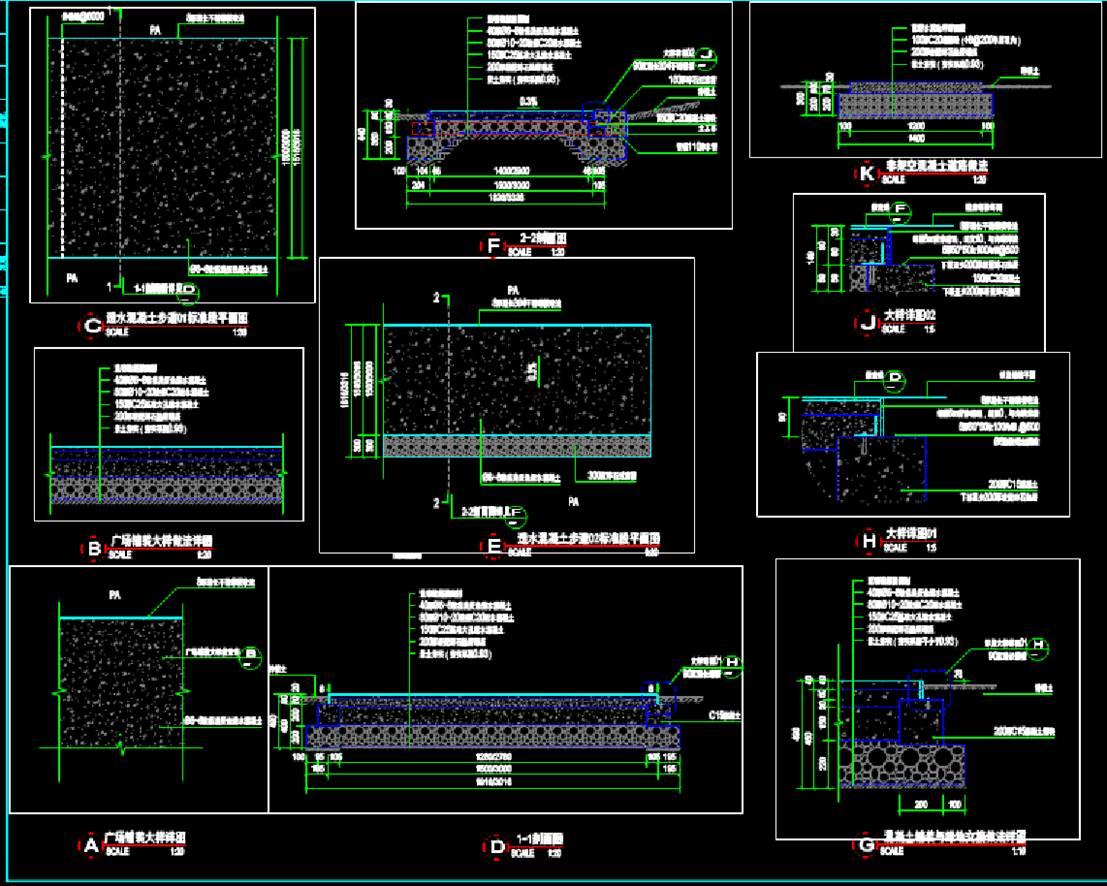 道路和铺装详图CAD景观素材